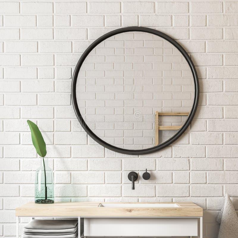 Белая ванная комната кирпича, раковина и поднимающее вверх зеркала близкое иллюстрация штока