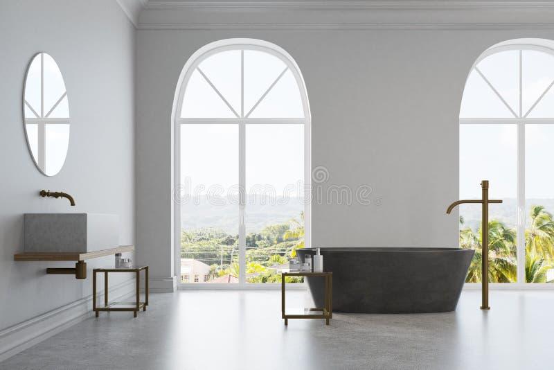 Белая ванная комната, мраморный ушат и раковина иллюстрация штока