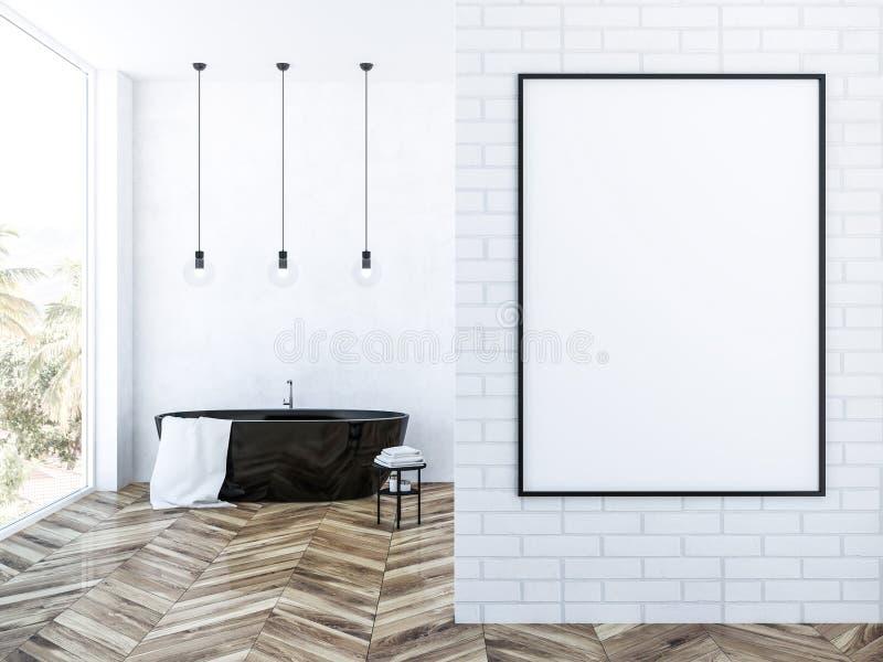 Белая ванная комната просторной квартиры кирпича, черный ушат и плакат иллюстрация штока