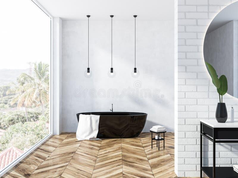 Белая ванная комната просторной квартиры кирпича, черный ушат иллюстрация вектора