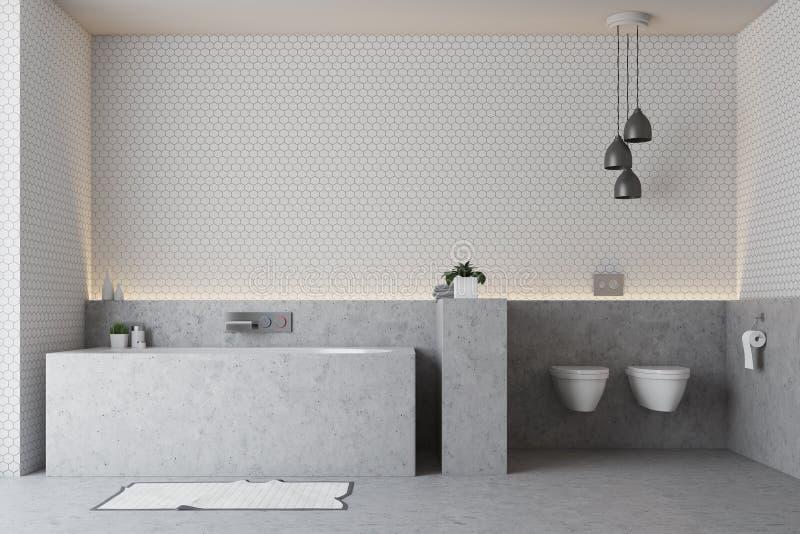 Белая ванная комната, серый ушат иллюстрация штока