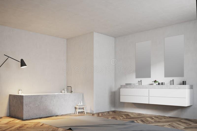 Белая ванная комната, угловой ушат и раковина, взгляд со стороны бесплатная иллюстрация