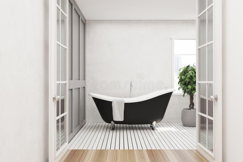 Белая ванная комната, черный ушат, дерево иллюстрация вектора