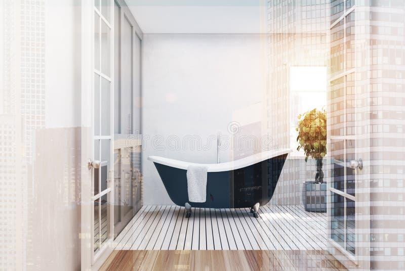 Белая ванная комната, черный ушат, тонизированное дерево иллюстрация вектора