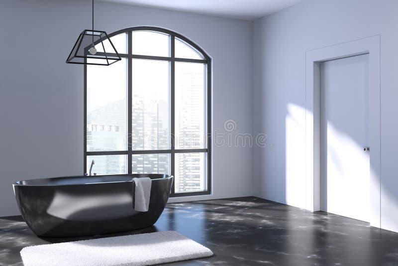 Белая ванная комната, черный ушат иллюстрация штока