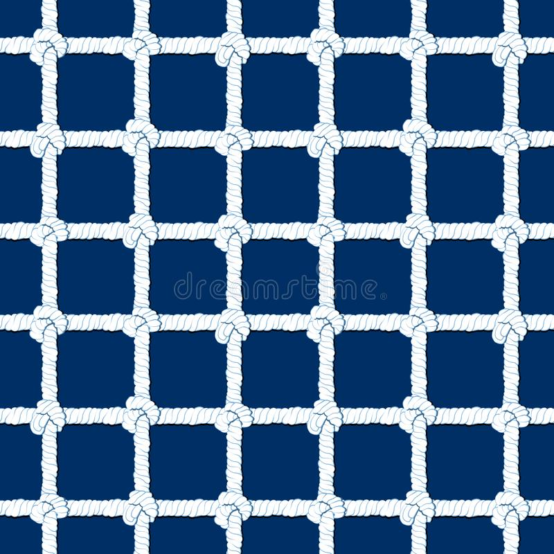Белая веревочка с картиной узлов безшовной на предпосылке сини военно-морского флота Морская бесконечная striped иллюстрация с ор иллюстрация штока