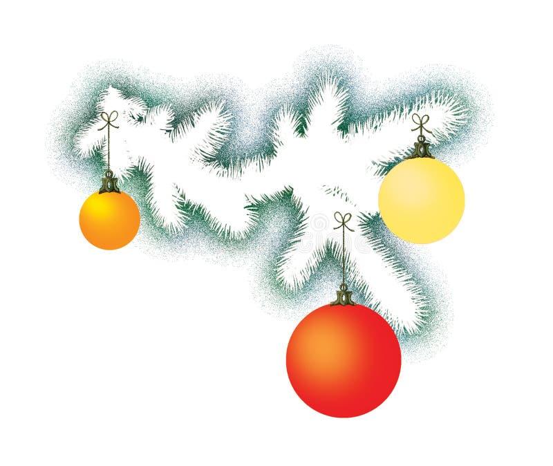 Белая ветвь дерева Нового Года с 3 различными покрашенными стеклянными сферами Украшение на праздник бесплатная иллюстрация
