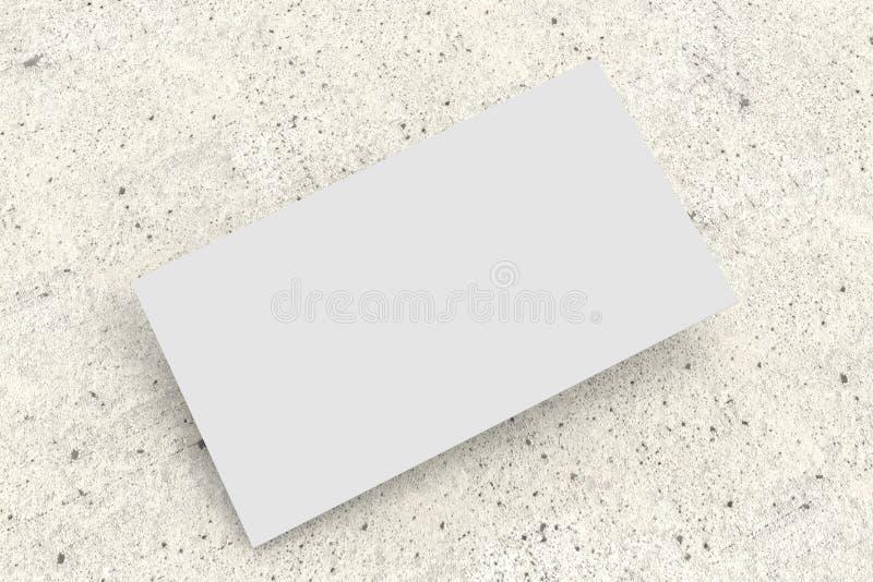 Белая визитная карточка на конкретной поверхности, модель-макете стоковое изображение