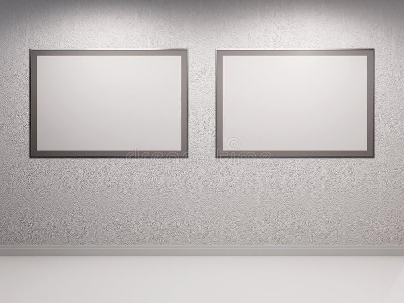 Белая внутренняя стена предпосылки 3d с конкретный штукатурить украше иллюстрация штока