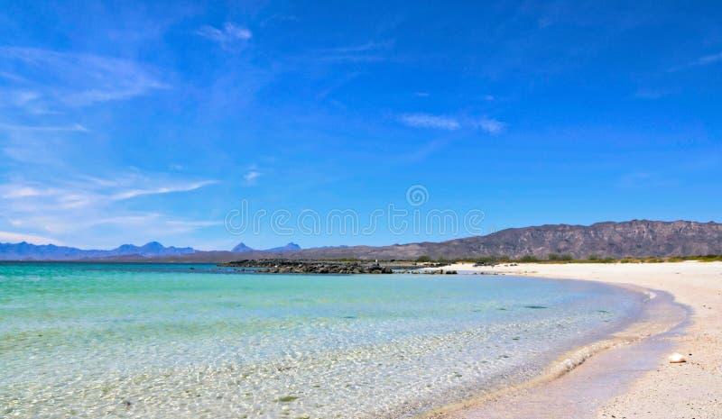 Белая вода бирюзы песчаного пляжа в Нижней Калифорнии, Мексике стоковые фотографии rf