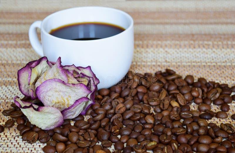 Белая высушенная чашка черного сильного кофе и подняла стоковая фотография rf
