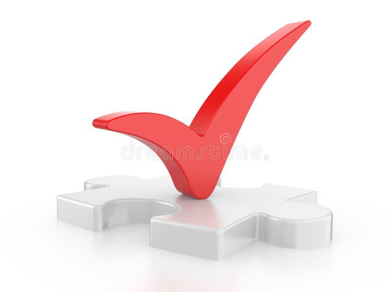 Белая головоломка с красной проверкой иллюстрация штока