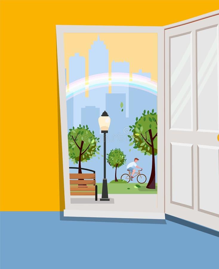 Белая дверь внутри дома с взглядом городского ландшафта Внешний парк с зелеными деревьями, силуэтами небоскребов, радугой o бесплатная иллюстрация