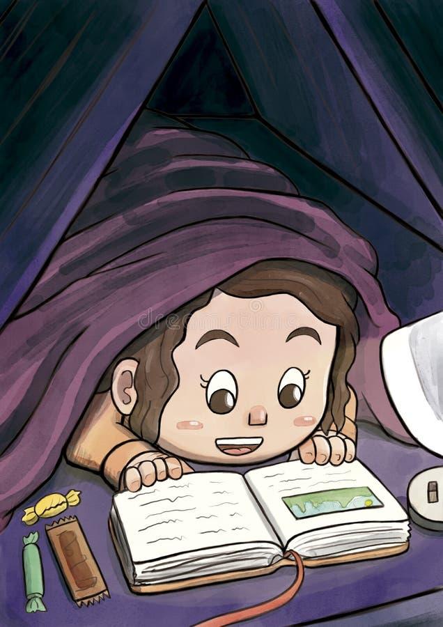Рисунок чтение книги с фонариком