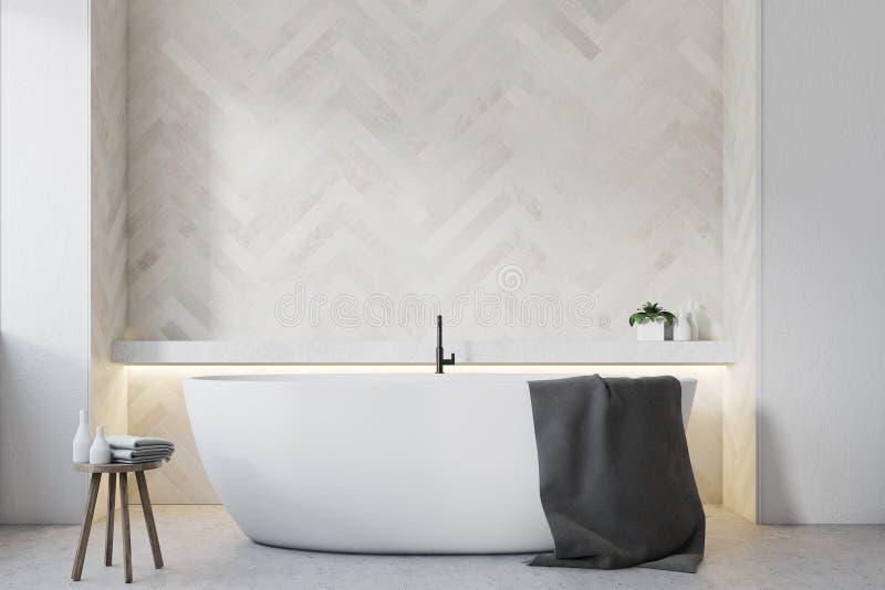 Белая деревянная ванная комната, круглый конец ушата вверх иллюстрация штока