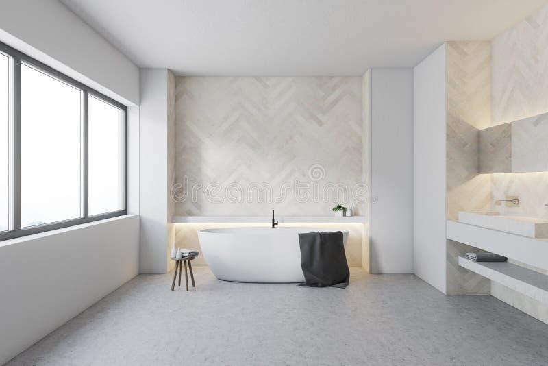 Белая деревянная ванная комната, круглый ушат бесплатная иллюстрация