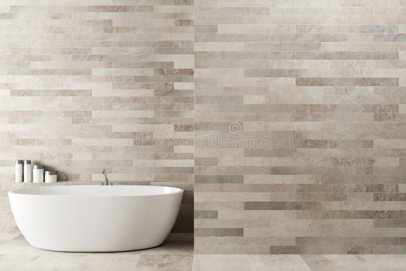Белая деревянная ванная комната, ушат иллюстрация вектора