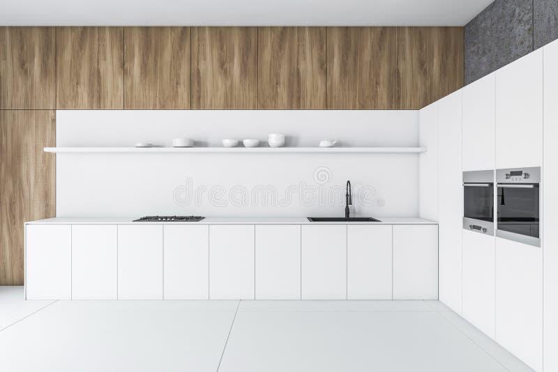Белая, деревянная и конкретная кухня с countertop бесплатная иллюстрация