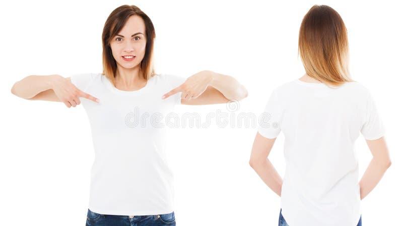 Белая женщина в белом изолированном наборе футболки, пустой, логотип, пустой стоковая фотография rf