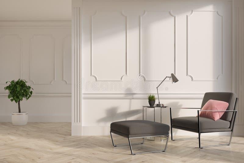 Белая живущая комната внутренняя, серое кресло иллюстрация штока
