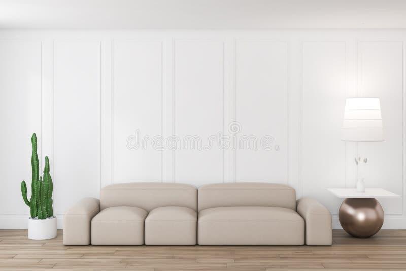 Белая живущая комната с бежевым креслом иллюстрация вектора