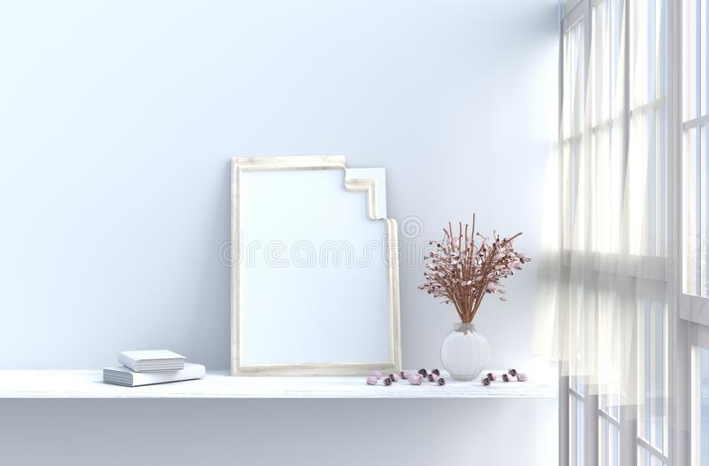 Белая живущая комната украшенная с красно-розовая розовой и модель-макетом иллюстрация штока