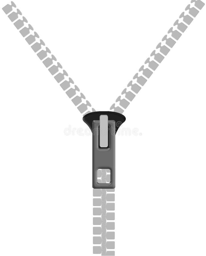 белая застежка -молния иллюстрация вектора