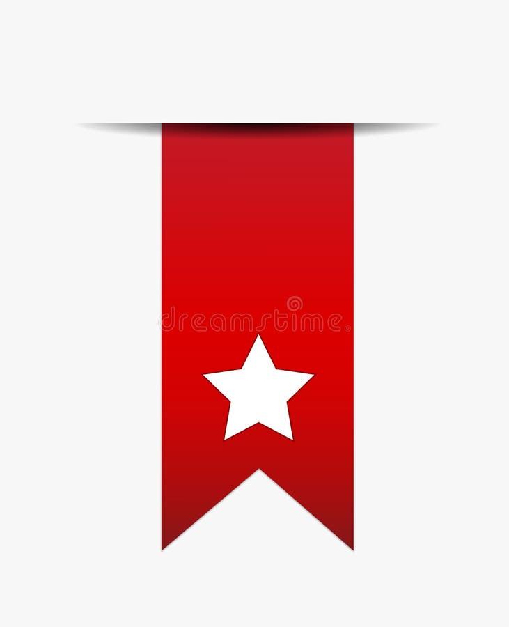 Белая звезда на красном кабеле тесемки иллюстрация вектора
