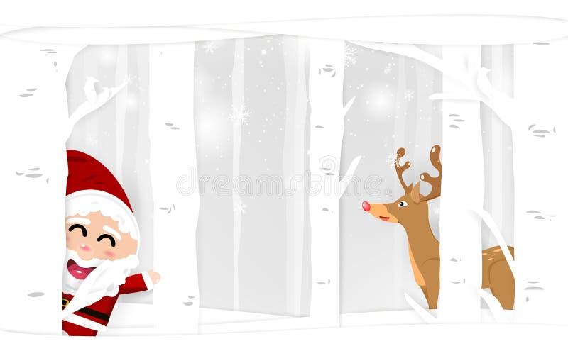 Белая зима, Санта Клаус и северный олень в природе, charac мультфильма иллюстрация штока