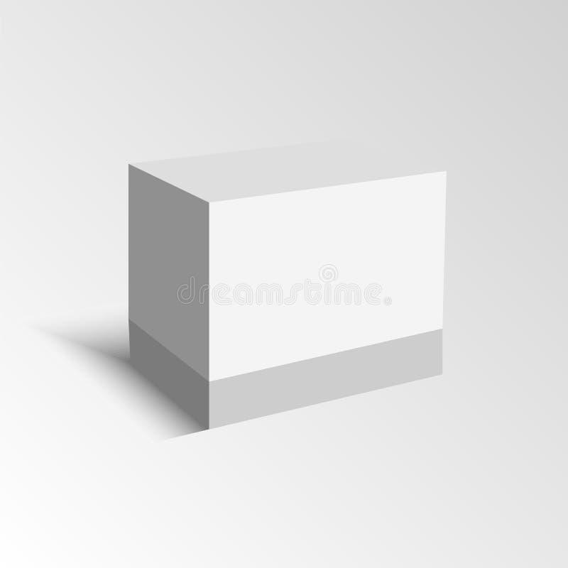 Белая иллюстрация коробки пакета продукта картона иллюстрация штока