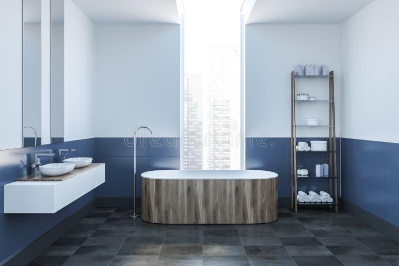 Белая и голубая ванная комната, деревянный ушат бесплатная иллюстрация
