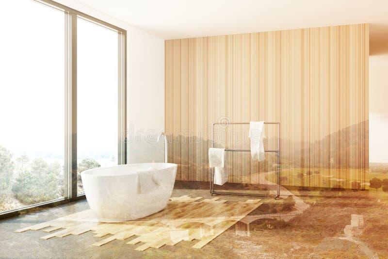 Белая и деревянная ванная комната, белый ушат, тонизированная просторная квартира иллюстрация штока