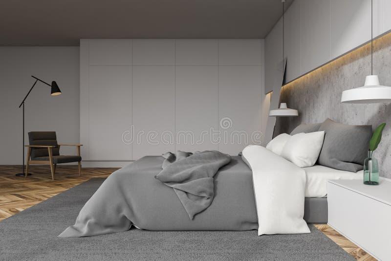 Белая и каменная спальня с креслом иллюстрация вектора
