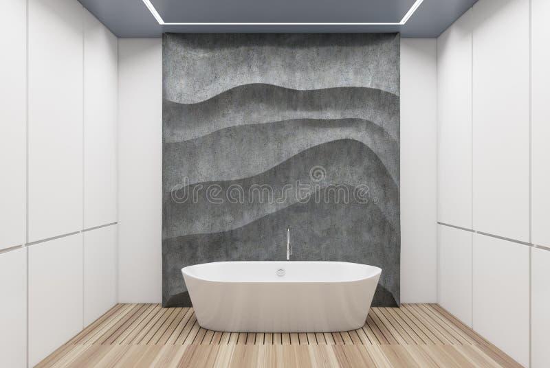 Белая и конкретная ванная комната, белый ушат иллюстрация вектора