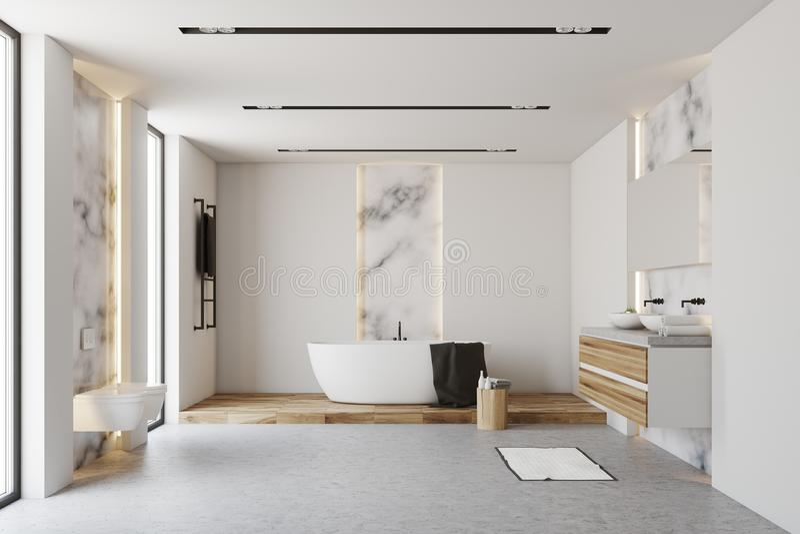 Белая и мраморная ванная комната иллюстрация вектора