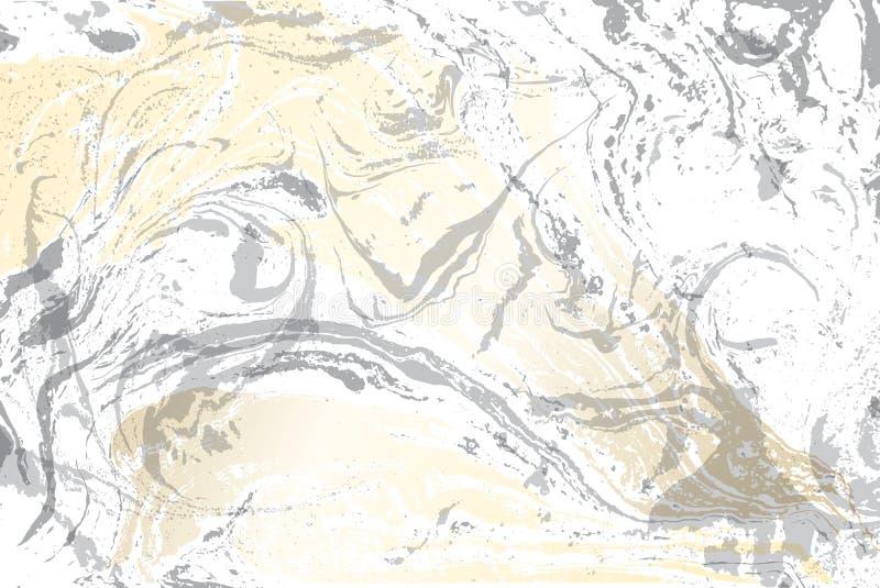 Белая и серая мраморная текстура Картина мраморизованная золотом Светлая поверхность вектора иллюстрация вектора