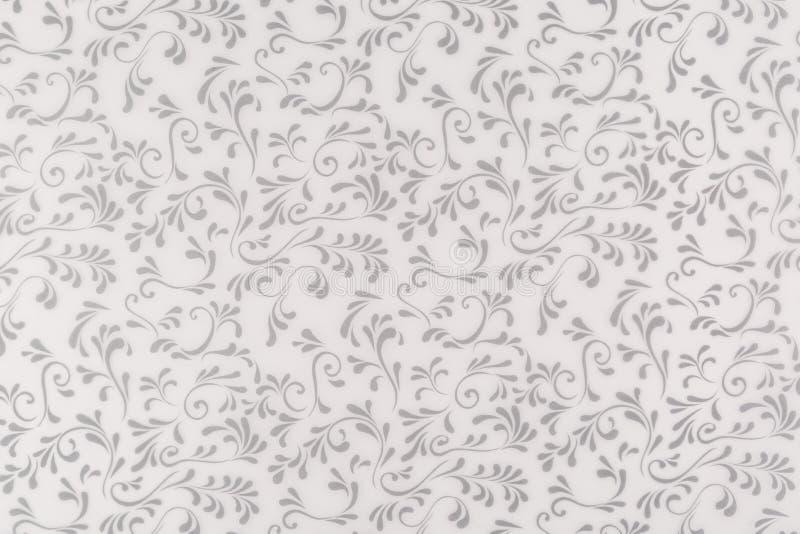 Белая и серая текстура, безшовные флористические лист и предпосылка дизайна свирли иллюстрация штока