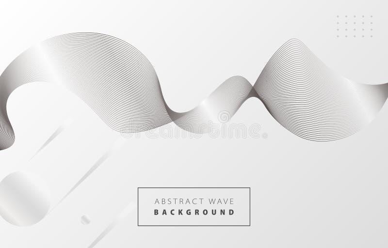 Белая и черная абстрактная волна 1 бесплатная иллюстрация