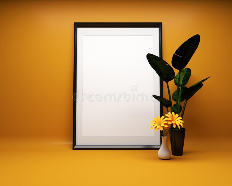 Белая картинная рамка на оранжевой предпосылке с насмешкой завода вверх r иллюстрация вектора