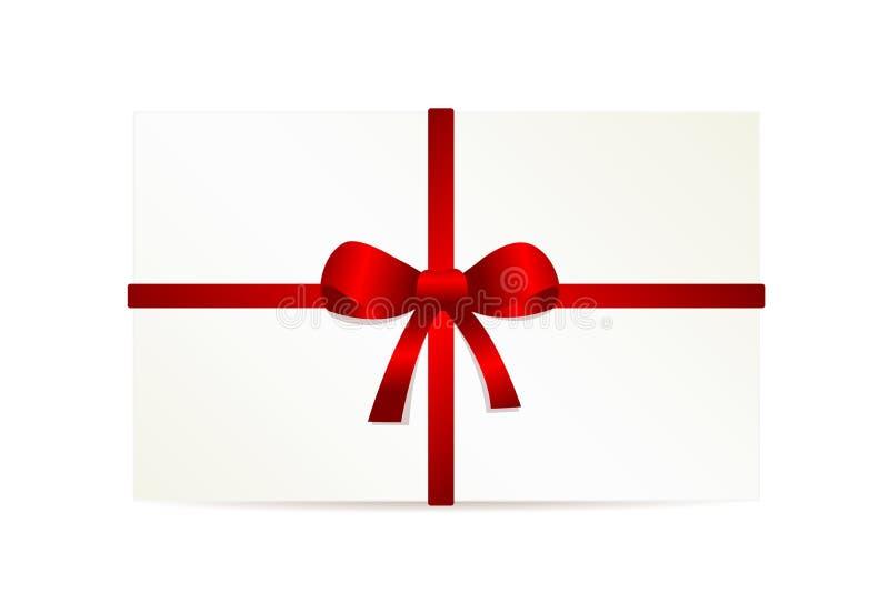 Белая карточка подарка при красный смычок изолированный на белой предпосылке бесплатная иллюстрация