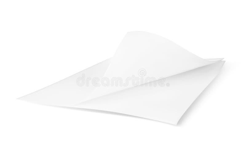 Белая квадратная писчая бумага Открытая тетрадь с изогнутым краем бесплатная иллюстрация