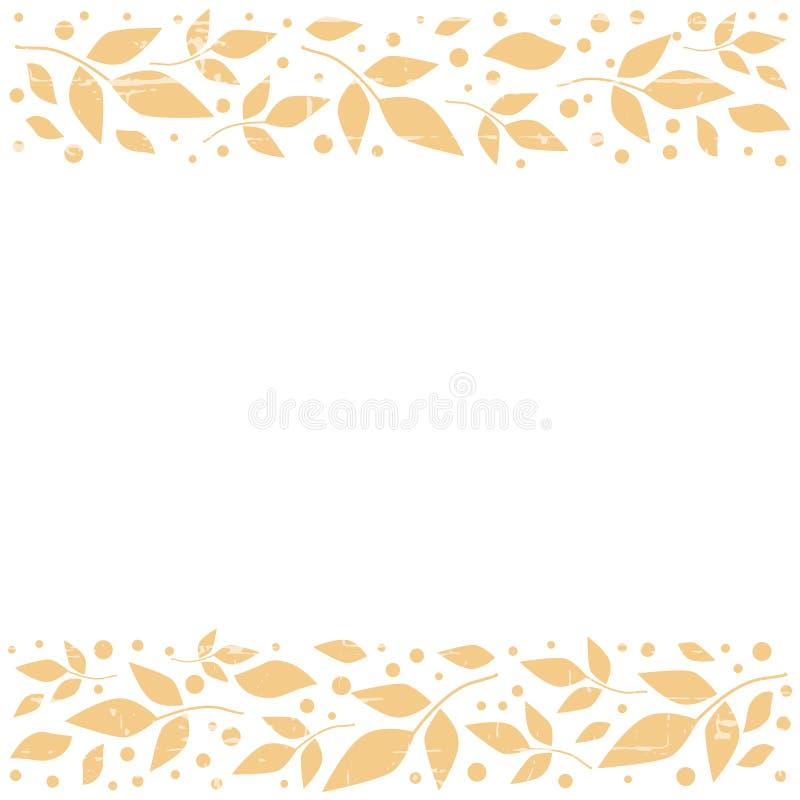 Белая квадратная предпосылка с декоративными нашивками выравнивает верхнее и внизу с оранжевыми листьями и точками иллюстрация штока