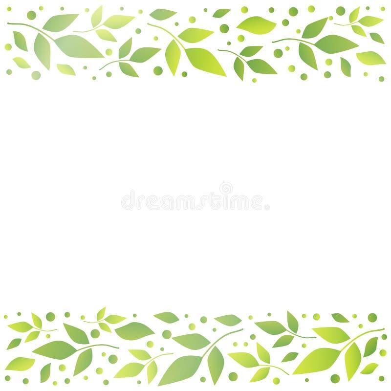 Белая квадратная предпосылка с декоративными нашивками выравнивает верхнее и внизу с зелеными листьями и точками иллюстрация штока