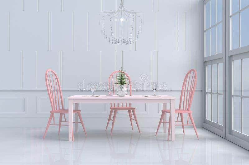 Белая комната еды влюбленности на день ` s валентинки Предпосылка и интерьер 3d представляют иллюстрация штока