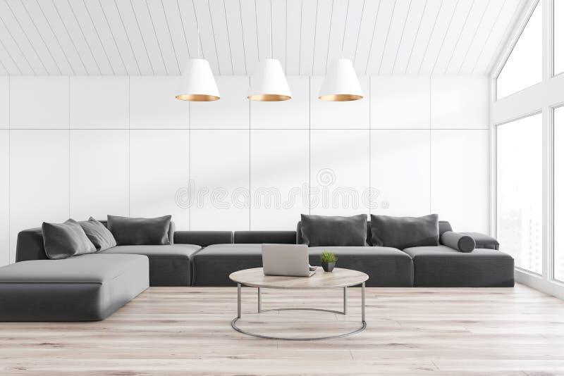 Белая комната прожития чердака с софой иллюстрация вектора