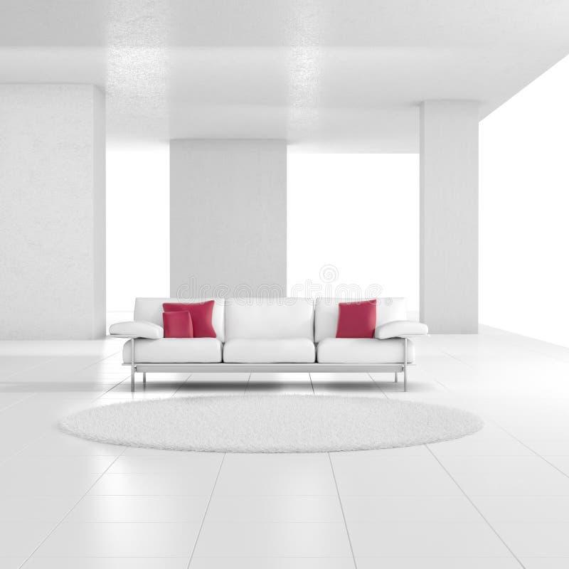 Белая комната с ковром иллюстрация вектора
