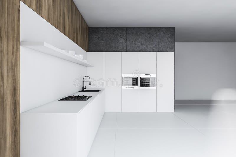 Белая, конкретная и деревянная кухня с countertop иллюстрация штока