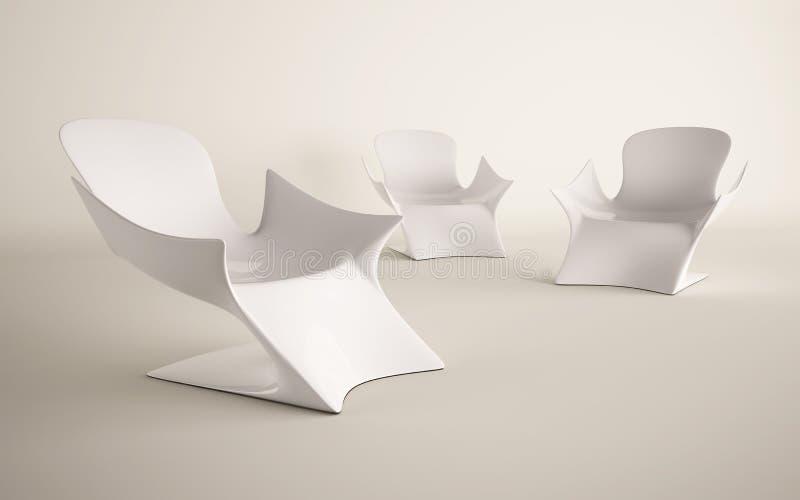 Белая конструкция стула для украшено бесплатная иллюстрация