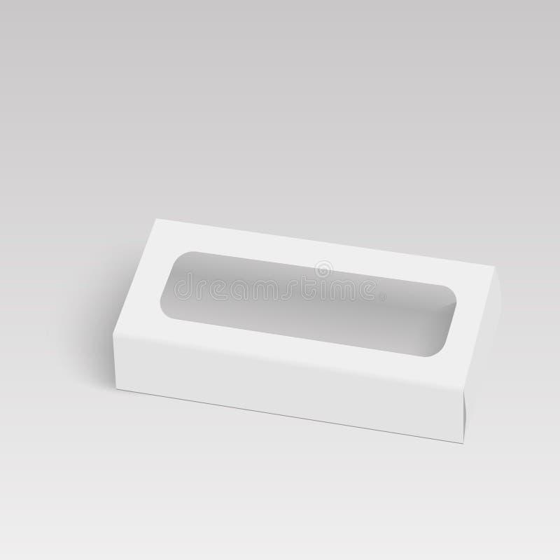 Белая коробка пакета картона продукта с окном вектор иллюстрации бесплатная иллюстрация