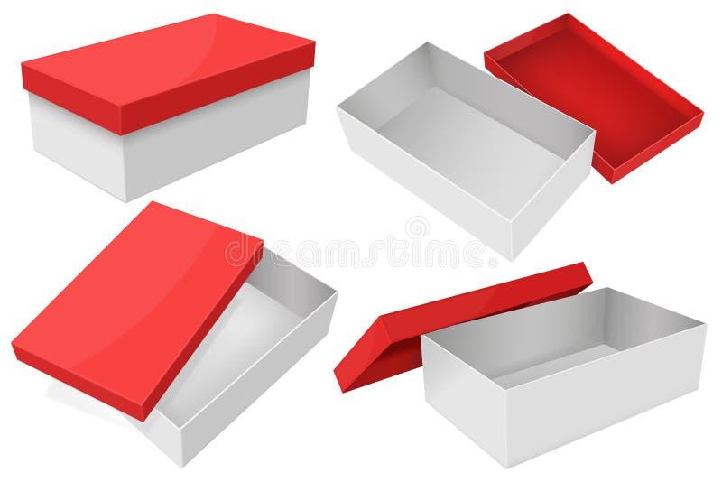 Белая коробка с красной крышкой Установите подарочных коробок бесплатная иллюстрация
